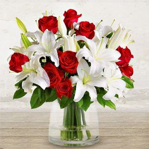 "Red Roses & Lilies ""Elegance"""