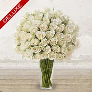 "White Roses ""Deluxe"" Long-stem <br>Custom quantity"