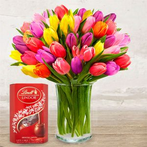 "Bouquet ""Coloured Tulips"" & Chocolates"