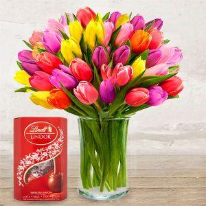 "Bouquet ""Coloured Tulips"" & Chocolates"