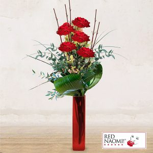 "5 Red Roses Long Stem<br>""Love Message"""