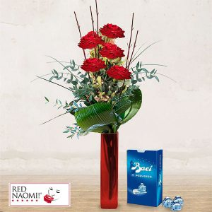"5 Red Roses Long Stem & Chocolates ""Love Message"""