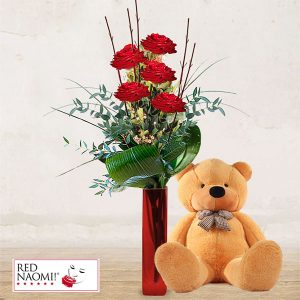 "5 Red Roses Long Stem & Teddy Bear ""Love Message"""