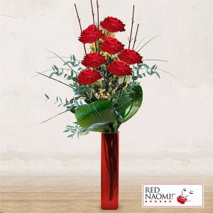 "7 Red Roses Long Stem<br>""Love Kiss"""